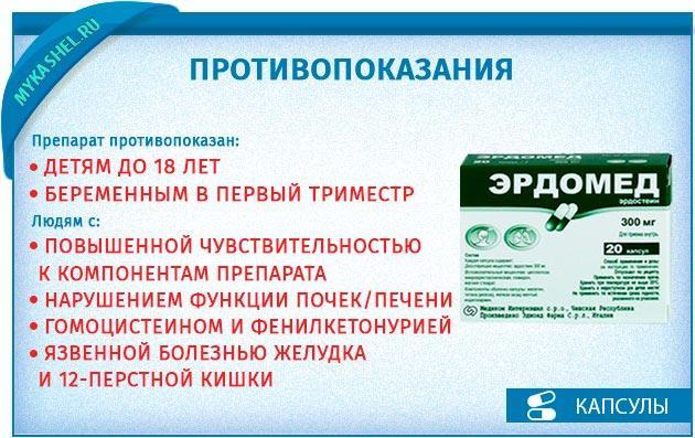 эрдомед 300 мг инструкция противопоказания