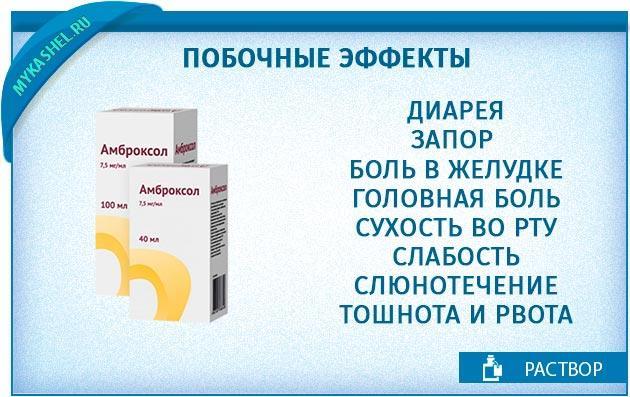 побочные эффекты раствора амброксол
