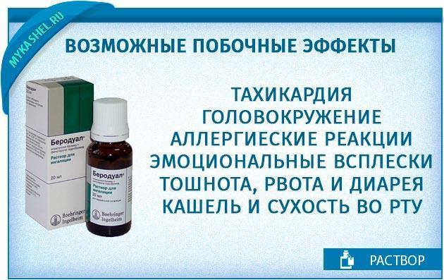 возможные побочные эффекты от раствора беродуал