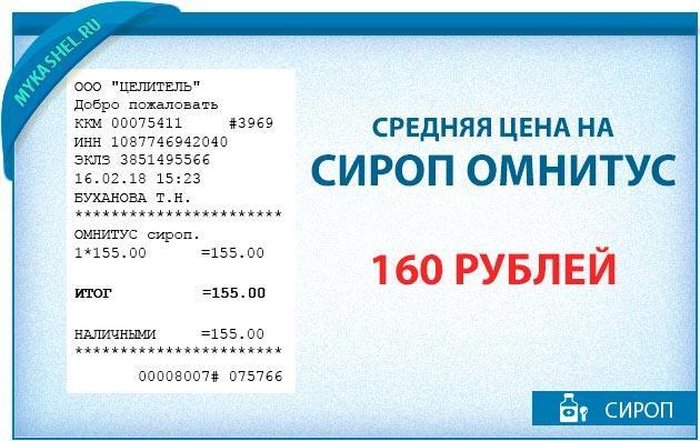 Средняя цена на сироп Омнитус