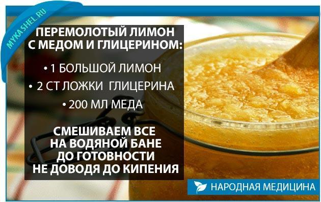 рецепт от кашля лимон глицерин мед