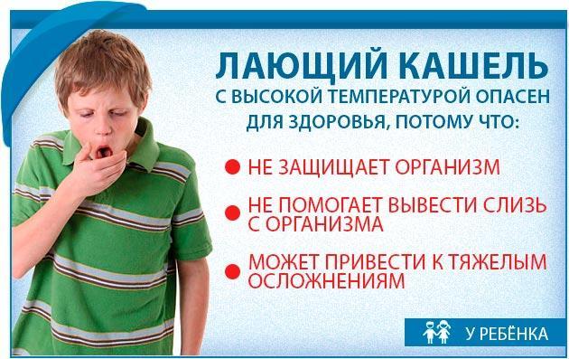 Лающий кашель с температурой опасен