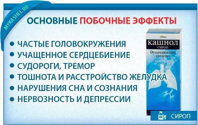 Основные побочные эффекты сиропа кашнол