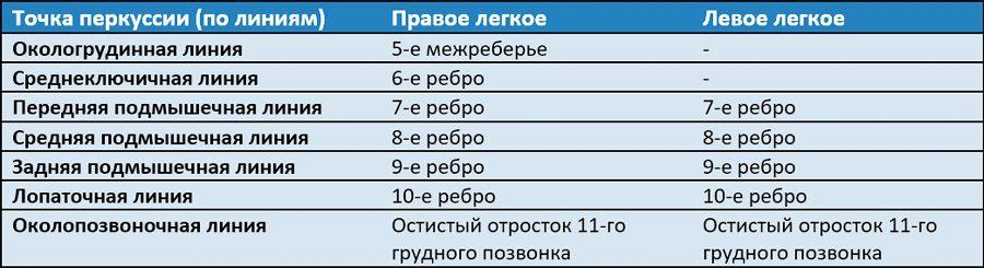Таблица - точка перкуссии