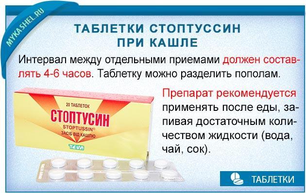 интервал между приемом таблеток стоптуссин