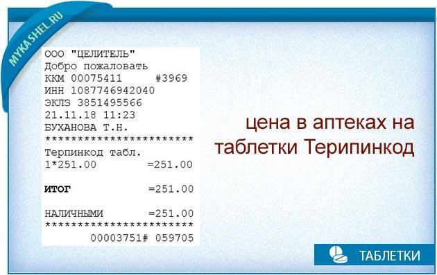 цена в аптеках на терпинкод